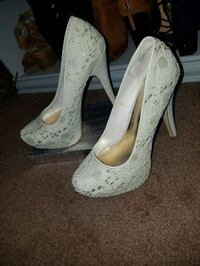 White and silver Heels size 9