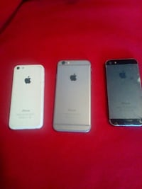white iPhone 5C, space grey iPhone 5S and iPhone 6