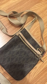 monogrammed black and gray Michael Kors leather crossbody bag