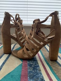 pair of brown leather open toe ankle strap heels Sterling, 20164