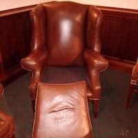 Set of 4 chesterfield brown leather wingback chair  London, SE27