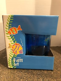 Brand New Blue Plastic Pitcher With 4 Cups 30 mi