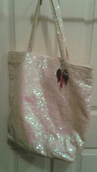 pink and gray glittered tote bag