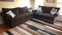 Brown suede sectional sofa with throw pillows Alexandria, 22304