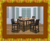 Marble tall table 4 leather chairs free delivery Alexandria, 22305