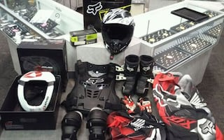 Racing Gear- Helmet, chest protector, knee/elbow pads, and more