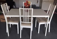 Rectangular white wooden table with four chairs dining set Gaithersburg, 20878