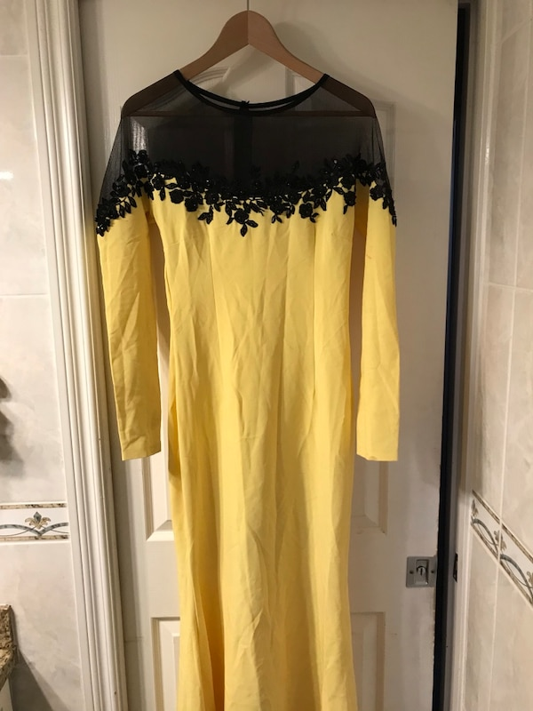 Yellow and black sheer illusion neckline long-sleeved dress fb7343db-f6e9-4597-a49e-a032d11365f7