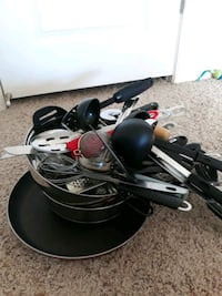 Miscellaneous kitchen utensils and pans