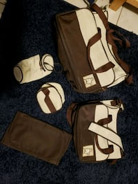 brown and cream diaper bag set Cocoa, 32926