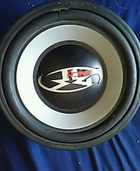 black and gray MTX Audio subwoofer