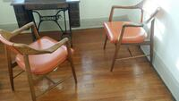 two brown wooden framed white leather padded armchairs Cleveland Heights, 44118
