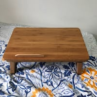 Laptop Bed Desk Table - Adjustable & Foldable - Breakfast Serving Bed Tray w' Tilting Top Drawer. Columbia