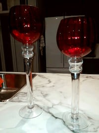 2 red candle holders