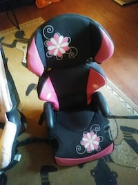 toddler's black and pink floral car booster seat