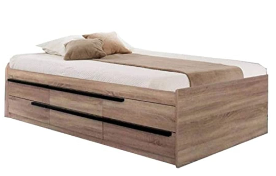 Full size captains bed with Storage Drawers, mattress, bedding 281bfaba-4200-49c2-9c79-17e3a0bc00aa
