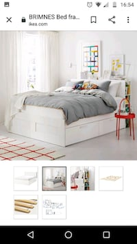 IKEA white storage bed  with headboard