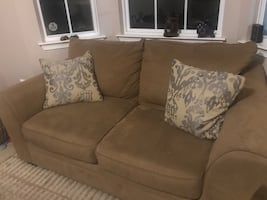 Beige Sofa, Loveseat, and Ottoman