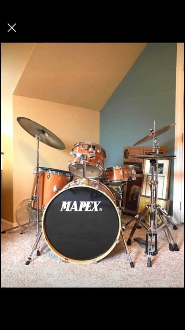 Full Mapex series drum set, practice pads and nice throne. 65ad13f1-059a-42d2-809f-cc8acafdea47