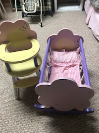2 piece doll furniture high chair and cradle Egg Harbor Township, 08234