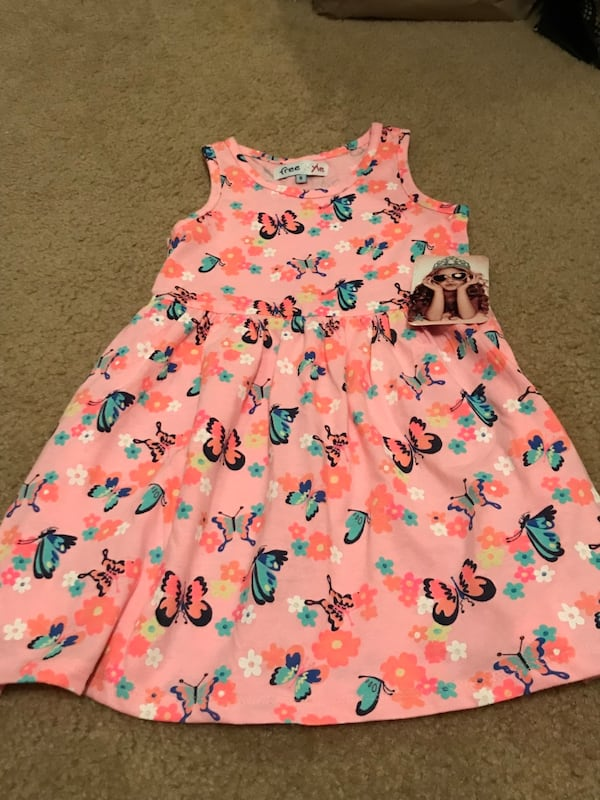 Pretty! New! Girls Size 5 Pink Butterfly Dress 640c5ea2-a014-44ae-80d4-e5c056f29c3c