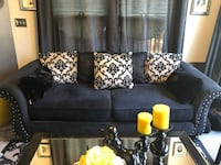 Black microsuede fabric sofa with brushed nickel Nailhead Trim. Clinton, 20735