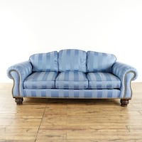 Lillian August Collection Blue Upholstered Striped Silk Sofa (1018139) South San Francisco