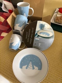 Blue Xmas.   New Dishes from Martha Stewart.  Cups and plates London, N5Y 4A6
