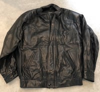 Large black Leather jacket men