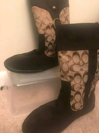 pair of brown-and-black Coach boots Germantown, 20874