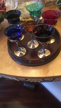 several assorted-color short-stem wine glasses on a tray Boca Raton, 33486