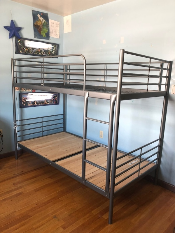 Used Silver Twin Sized Svarta Bunkbed Frame Ikea For Sale In Jersey