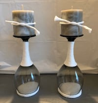 Black & Grey Wine Glass Candle Holders