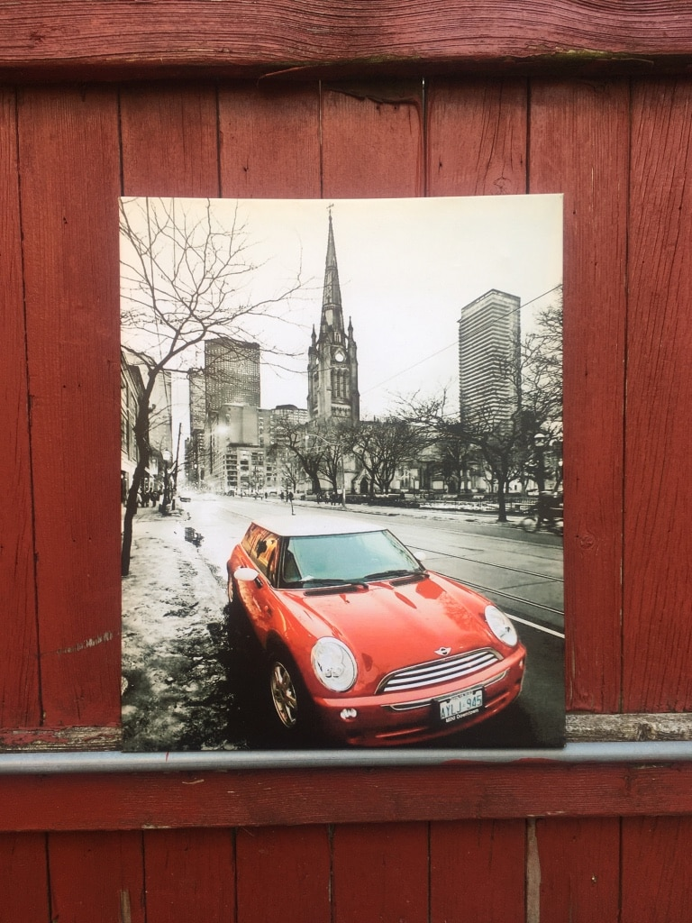 Photo Red Mini Cooper On Chicago Street Canvas Wall Art - 16 x 20 - Like New