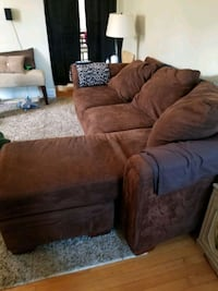 Brown microsuede ouch with chaise lounge