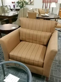 brown and white fabric sofa chair Oakville