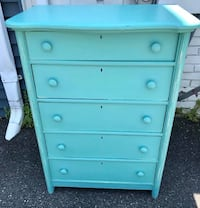 Caribbean blue aqua turquoise solid wood dresser chest of drawers 35 km