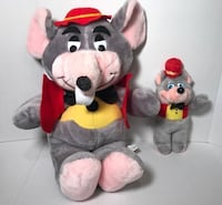 2 Vintage 1988 Showbiz pizza time Inc Chuck E Cheese Mouse stuffed plush toy $20 total