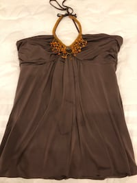 Brown halter top with beading size small like new  Chicago, 60656