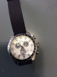 round silver-colored chronograph watch with black leather strap Lawrenceville, 30045