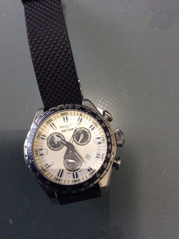 018542b00eef Used round silver-colored chronograph watch with black leather strap for  sale in Lawrenceville