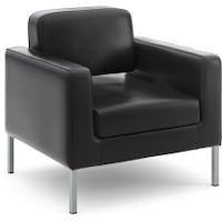 black leather padded armchair with gray metal base Edmonton