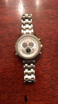 round silver-colored chronograph watch with link bracelet Jericho, 11753