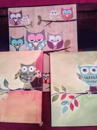 Three owl canvas paintings on wooden frames
