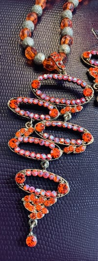 Colourful orange necklace and earrings New Westminster, V3M 2X8
