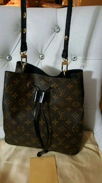 brown monogram canvas Louis Vuitton leather tote bag