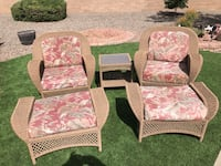 Two brown wooden framed padded armchairs Sun City West, 85375