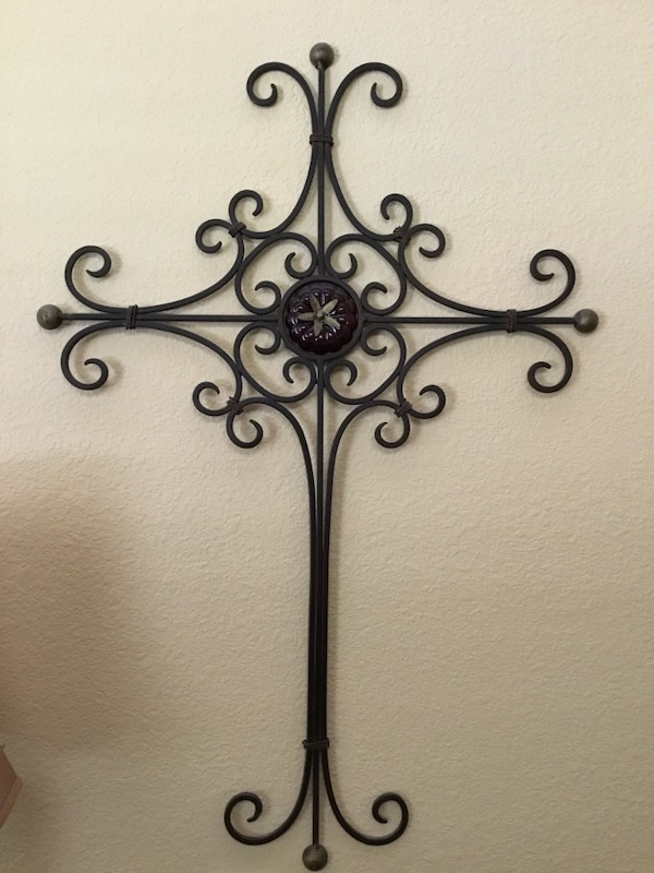 Used Wall Decor Wrought Iron Cross Read Post Before Messaging For