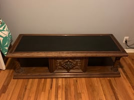 Solid Wood Antique Coffee Table with Matching Side Table