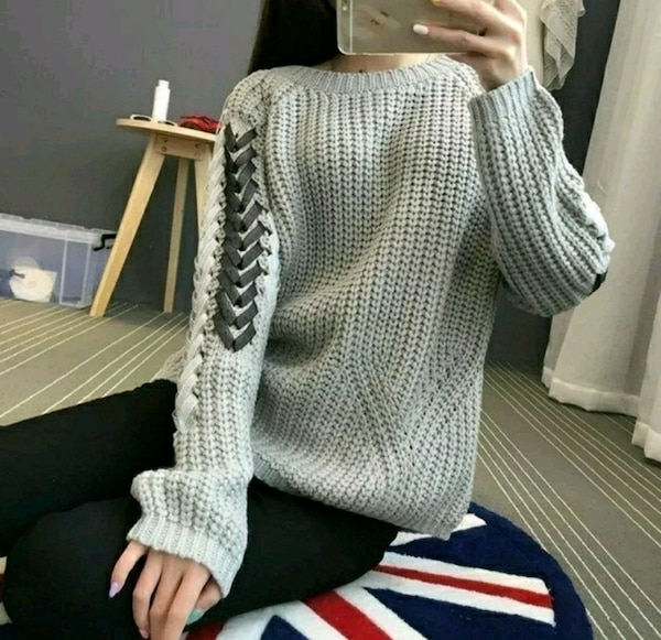 NEW Knit Sweater With Ribbon Detail/ Chandail